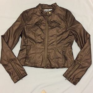 Jackets & Blazers - west seal bronze faux leather girl jacket NWT
